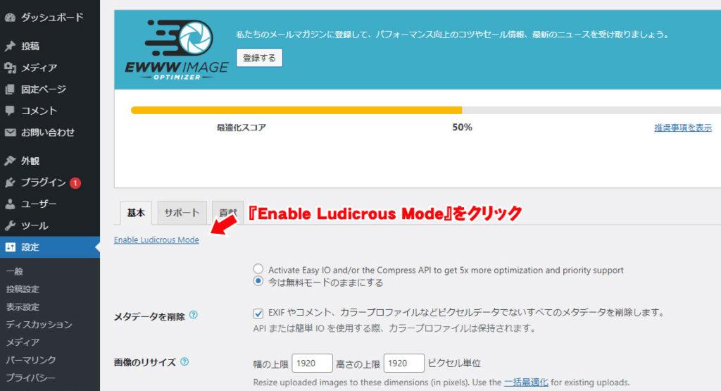 『Enable Ludicrous Mode』をクリック